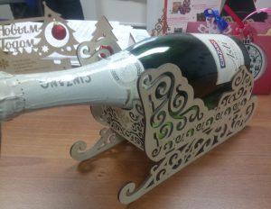 санки для шампанского,подставка для бутылки,санки сувенирные,