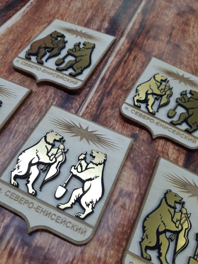 магниты герб города Северо-Енисейск,магниты из фанеры,